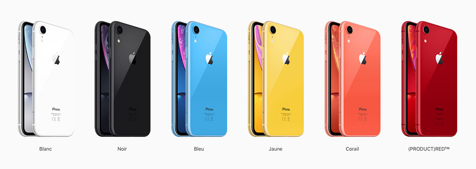 iPhone Xr disponible en 6 couleurs